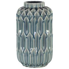 Cylindrical Ceramic Vase With Patterned Design Body, Large, Light Blue