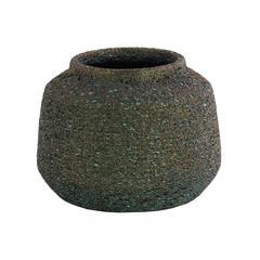 Ceramic Cylinder Tapered Bottom Vase In Volcanic Glaze Finish, Large, Turquoise