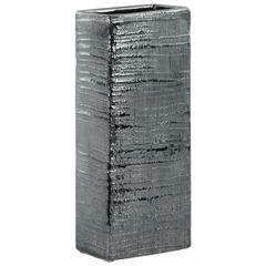 Ceramic Tall Rectangular Ribbed Design Vase, Large, Distressed Silver Finish