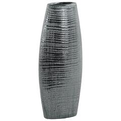 Ceramic Tall Ribbed Bellied Oval Vase With Tapered Botttom, Distressed Silver Finish