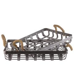 Metal Rectangular Basket with Rope Handle, Set of 2, Galvanized Gray Finish