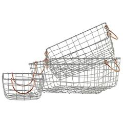 Metal Rectangle Wire Mesh Basket With Copper Handles, Set of 3, Silver