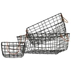 Metal Rectangle Wire Mesh Basket With Copper Handles, Set of 3, Black