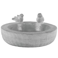 Brushed Design Cement Round Bowl With Two Bird Figurine, Gray