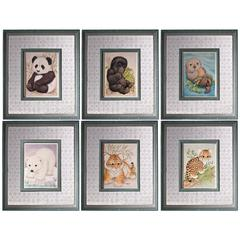 Wooden Framed Wall Art With Winsome Animals, Multicolor, Set of 6