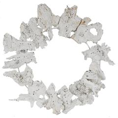 Distressed Tree Root Wreath In Wood, White