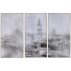 Foggy City Print With Golden Wooden Frame, Gray, Set of 3