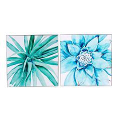 Wood Framed Succulents Wall Art, Blue & White, Set of 2