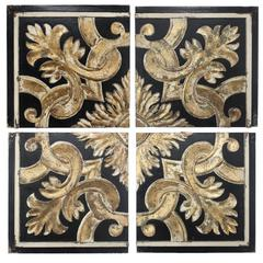 Distressed Fresco Panels With Traditional Motif In Wood, Black & Gold, Set of 4
