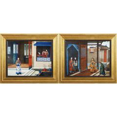 Wooden Framed Royal's Visit Linen Wall Art, Multicolor, Set of 2