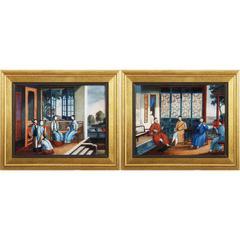 Wooden Framed Musicians Linen Wall Art, Multicolor, Set of 2