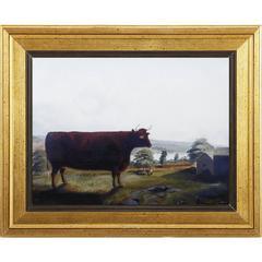 Wooden Framed Bull Wall Art On Linen Fabric, Multicolor