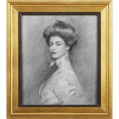 Natural Wooden Framed Portrait Of Charlotte Wall Art, Multicolor