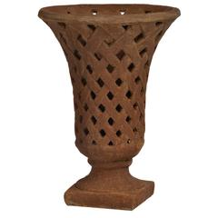 Stone weave Planter With Flared Top, Burnt Umber Brown