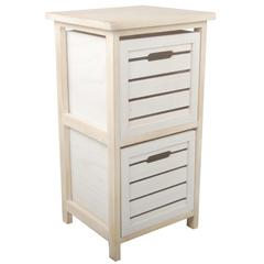 Space Efficient Wooden Drawers, Cream and White