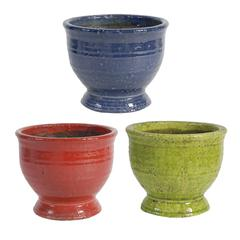 Round Terracotta Planters, Red, Blue & Green, Set of 3