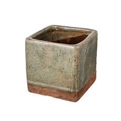 Square Shaped Ceramic Planter With Fine Texture, Small, Slate Gray and Brown