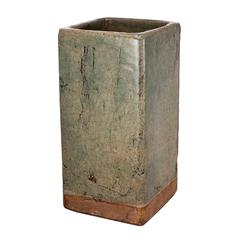 Textured Ceramic Planter In Square Shape, Large, Slate Gray and Brown