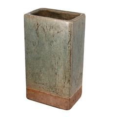 Textured Ceramic Planter In Tall Shape, Slate Gray and Brown