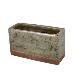 Rectangular Shaped Textured Planter In Ceramic , Slate Gray and Brown