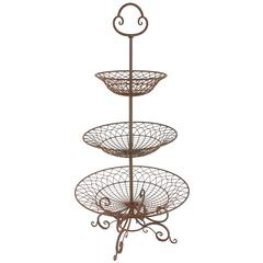 3-Tiered Iron Planter Basket In Traditional Style, Brown