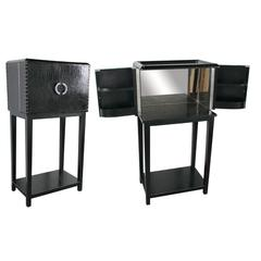 Glass Inlaid Wooden Wine Cabinet With Bottom Shelf, Black