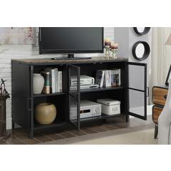 """47"""" Metal Frame TV Stand With Wooden Top In Black"""
