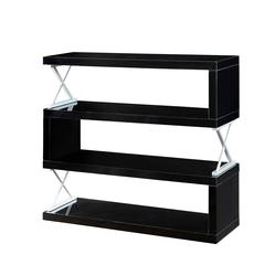 S-Shaped  4 Layer Wooden Shelf In Glossy Black