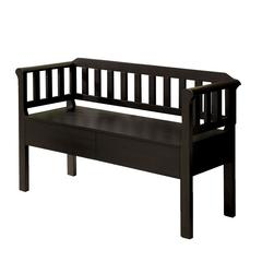 Slatted Pattern Wooden Bench With 2 Under Seat Drawers In Walnut Brown