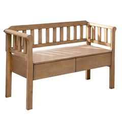 Slatted Pattern Wooden Bench With 2 Under Seat Drawers In Natural Brown