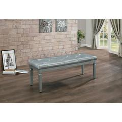 Faux Leather Tufted Wooden Bed Bench, Gray
