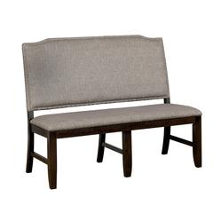 Nail Head Trim Wooden Bench with Fabric Upholstery, Gray And Brown
