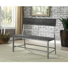 Wood & Metal Bench with Plank Style Angled Back, Black & Silver