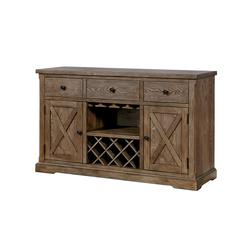 Wood Server With Three Drawers And Two Door, Light Oak Brown