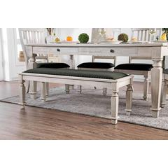 Fabric Padded Wood Bench, Antique White And Gray