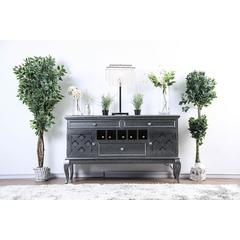 Wood Server With Three Drawers And Two Door, Dark Gray