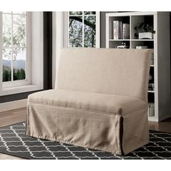 Fabric Upholstered Love Seat Bench, Beige