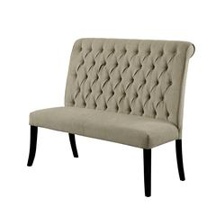 Button Tufted Wooden Fabric Upholstered Love Seat Bench, Ivory And Black
