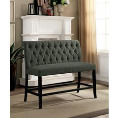 Wooden Fabric Upholstered Counter Height Bench, Gray And Black, Small