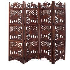 Benzara Hand Carved Elephant Design Foldable 4-Panel Wooden Room Divider, Brown