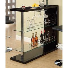 Enticing Rectangular Bar Unit with 2 Shelves and Wine Holder, Black