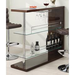 Modish Rectangular Bar Unit with 2 Shelves and Wine Holder, Brown