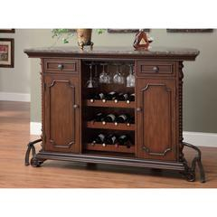 Wooden Traditional Bar Unit with Marble Top, Brown