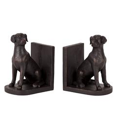 Benzara Elegant Resin Guard Dog Bookend In Black
