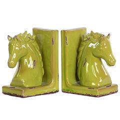 Stoneware Horse Bookend Assortment - Yellow Green