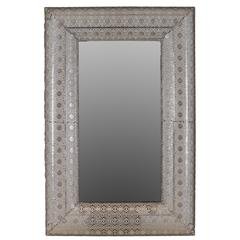 "50"" Rectangular Shaped Metal Wall Mirror W/ Beautiful Design In Silver"