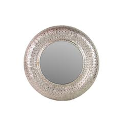 Precious & Valuable Round Shaped Metal Mirror W/ Spectacular Design In Silver