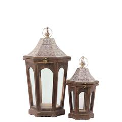 Benzara Classic Lamp Post Design Wooden Lantern Set Of Two In Antique Brown Finish