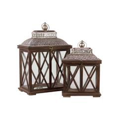 Classic & Traditional Wooden Lantern Set Of Two In Antique Brown Finish W/ Crossed W
