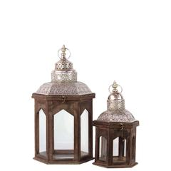 Benzara Persian Style Wooden Lantern Set Of Two In Antique Brown Finish W/ Light Dome Shaped Roofs